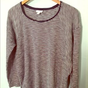 Women's J. Jill Navy and White Striped Top